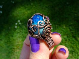 Blue Forest Lake copper wire wrapped ring by DeeArtist321