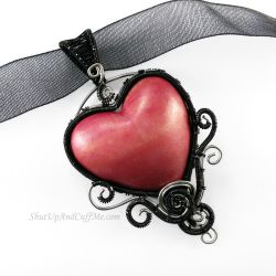 Pink Heart Necklace by Gailavira