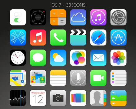 iOS 7 - 30 Icons (png+ico) by Evonyx3