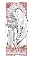 Christmas Angel Line Art by AngelaSasser