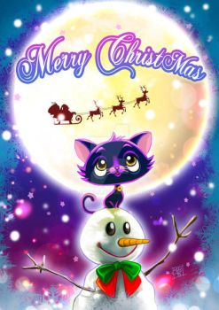Christmas card, the cat and the moon by clefchan