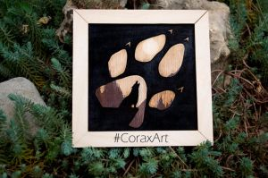 Wood Wall Art ' Omega ' Wolf Art Engraving by CoraxArt