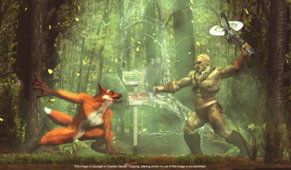 The Grumpy Goblin and The Red Fox by 3D-Fantasy-Art