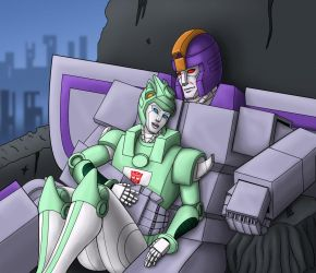 Astrotrain and Moonracer by Wrecker-lady