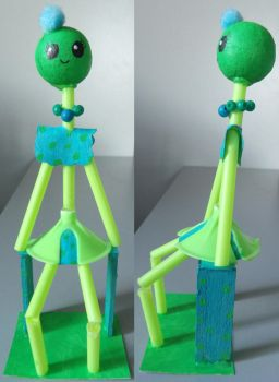 Green and Cyan Girl sculpture by TeleviCat