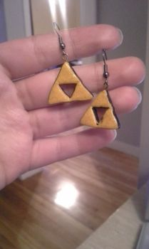 Triforce Earing made with fimo by lilweird