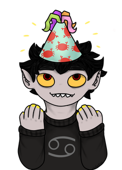 Karkat with a silly party hat by wintuc