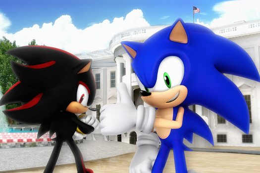 Sonic and Shadow vist the White House by Nibroc-Rock