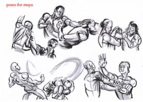 fighting poses for maya05 by AlexBaxtheDarkSide