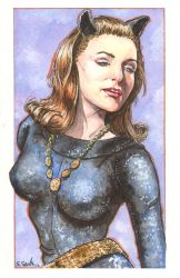 Julie Newmar as Catwoman Watercolor... by ssava