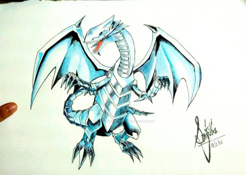 Blue Eyes White Dragon (final) by ChaoticTendencies