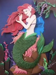 The Little Mermaid In cut Paper by RaphaelOda