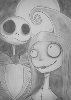 Jack and sally - A Nightmare Before Christmas by FrankTheDoodler