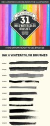 31 Ink and Watercolor Brushes by ottoson