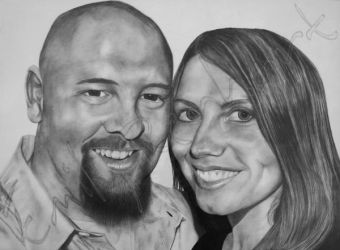 Charles and Lindsay - Charcoal Dry-Painting by TreeClimber