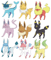 Shaggy Eeveelutions by Quarbie