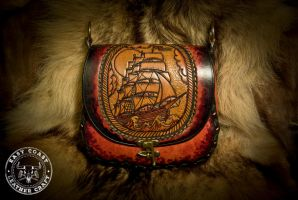 Nautical Pirate Ship Leather Purse by EastCoastLeather