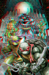 Batman and the TMNT in 3D Anaglyph by xmancyclops