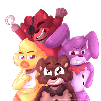 Freddy, Foxy Bonnie and Chica by NekoSugarStar