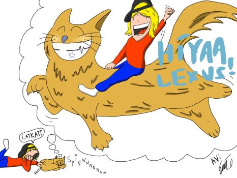 My friend Nadia and her cat, Lexus by Empfmil