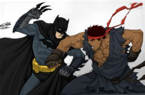 Batman vs. Evil Ryu Commission by Master-COG