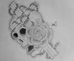 skull rose and cross tattoo by arthurjacobs