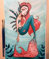 Mermaid Watercolor by ChrissieZullo