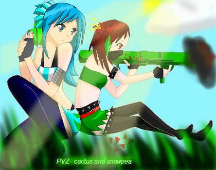 Snow pea and Cactus by swagbich