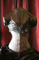Grey and black corset by ellenoircorsets