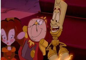 Cogsworth, Tanya, and Lumiere by JeffersonFan99