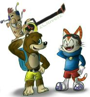 Banjo, BLiNX, and Vince by zCloverz