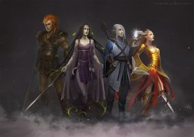 Sombras Divinas Characters by telthona