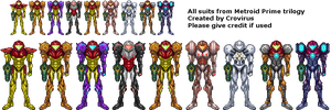 Metroid Prime trilogy suits by crovirus
