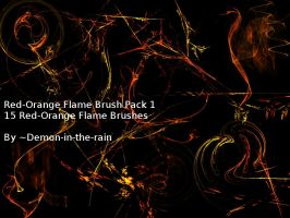 (Requested) Red-Orange Flame Gimp Brush Pack 1 by Demon-in-the-rain