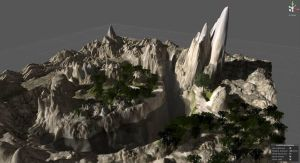 CG work - terrain level WIP in Unity game engine by Pumais