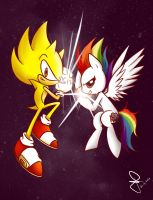 Super Sonic and Super RD:  Kamehame-Hadoken! by FerrumFlos1st