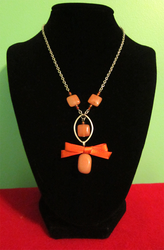 Red Aventurine - Brown Jade Bow Necklace by BloodRed-Orchid