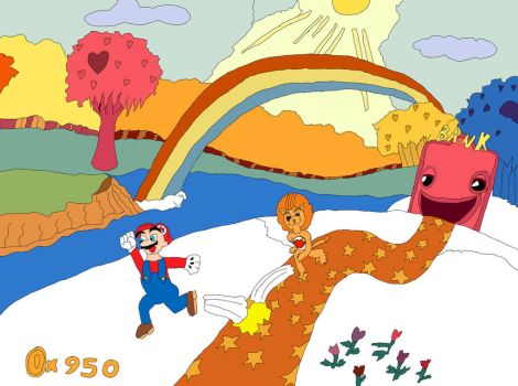 Mario in the Forest of Feelings robbing a bank by Zeroragnarok
