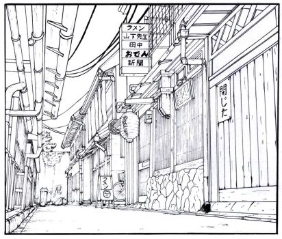 Alley - Manga Background by gene24manga