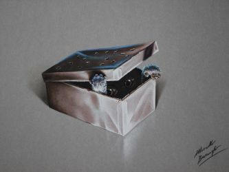 Gizmo the Mogwai in his box Gremlins DRAWING by marcellobarenghi