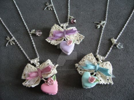 Heart Macaron Necklace [silver] by CupcakeCherry