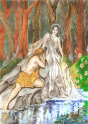 Echo and Narcissus by zaradei