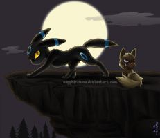 24. Dark - Umbreon n Poochyena by sapphireluna