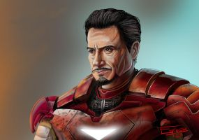 Robert Downey JR as Tony Stark by ramonespinoza