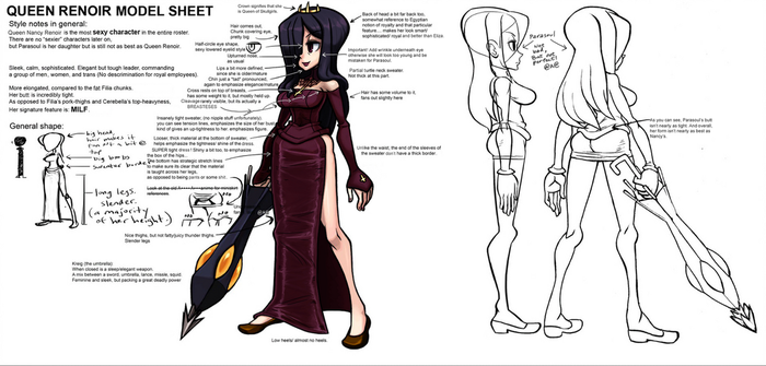 Skullgirls: Queen Renoir Model Sheet by southpawper