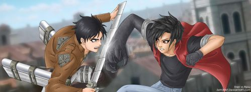 Request - Eren vs Ryuu (Shingeki no Kyojin) by zeth3047