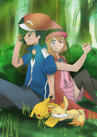 Ash + Serena by Pikarty10