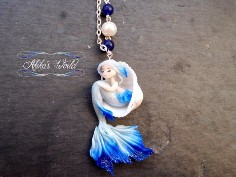 Blue and silver mermaid - Commission necklace by Akiko-s-World