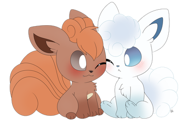 Vulpix and Alolan Vulpix by Cookie-Kit