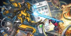 Ant Man Vs. Yellow Jacket by kpetchock